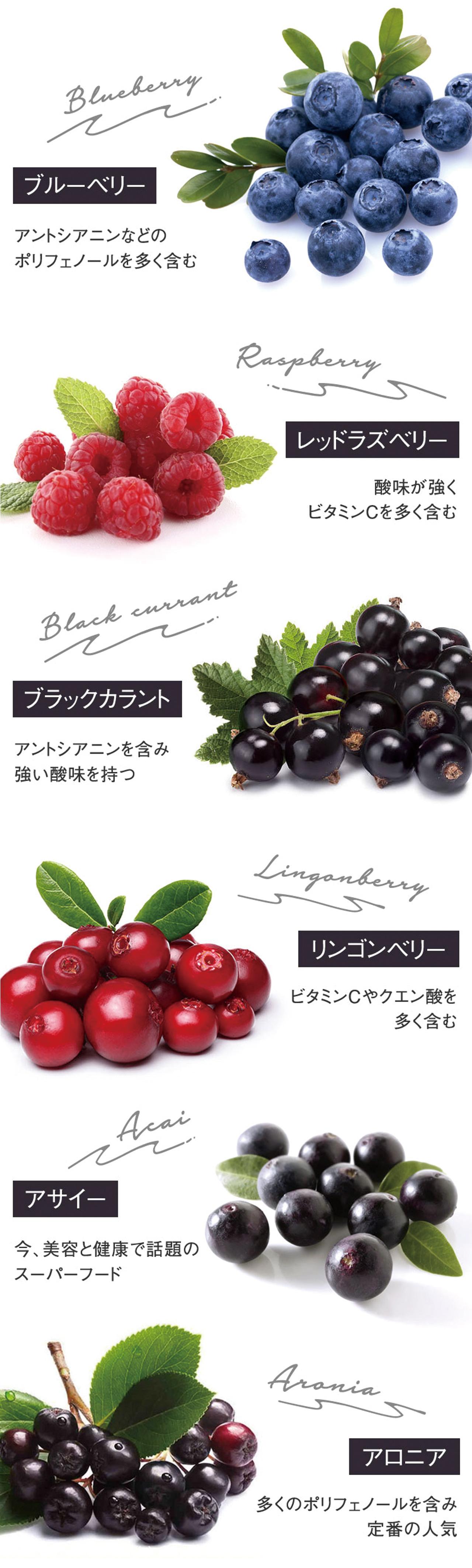 ブルーベリー、レッドラズベリー、ブラックラカント、リンゴンベリー、アサイー、アロニアの人気6種ベリー果実をブレンドしたキレイ・デ・コラーゲン